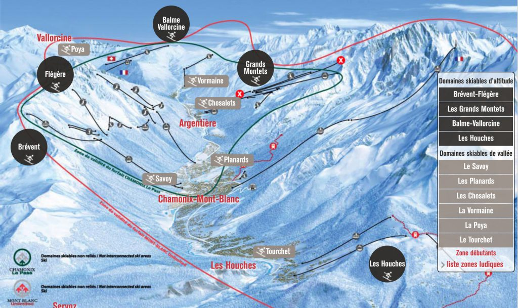 plan des pistes station de ski Chamonix mont blanc