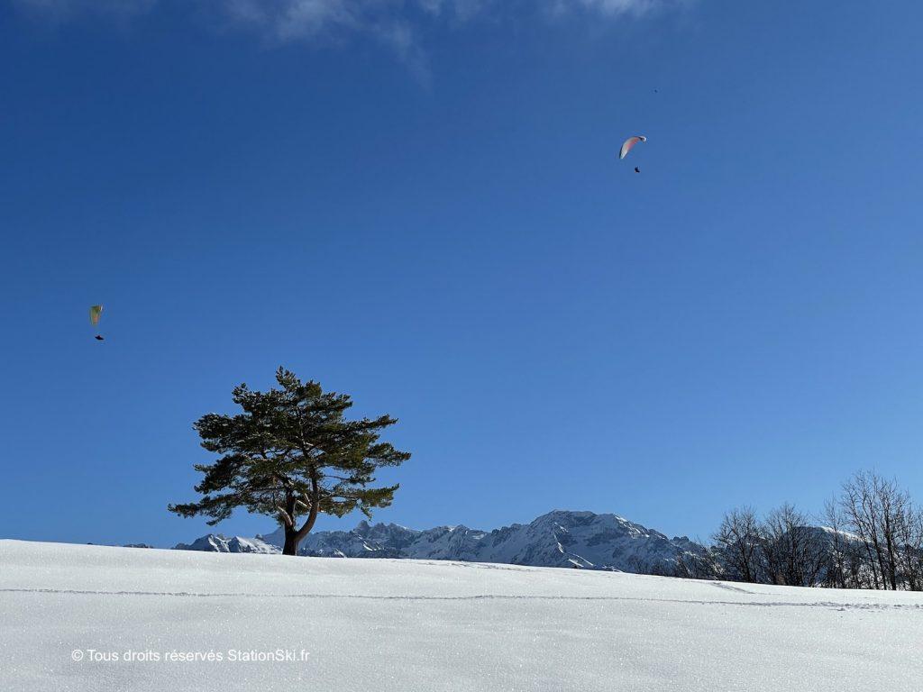 photo neige soleil arbre et sommets station ski