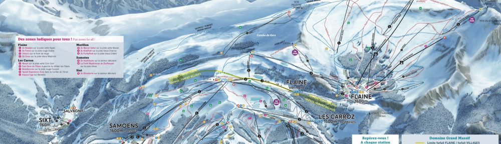 Plan des pistes Flaine Samoens grand massif